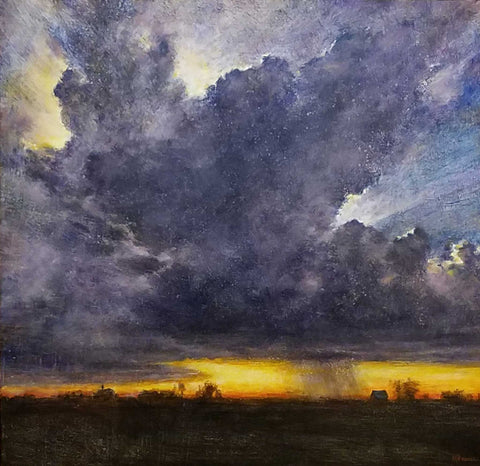 "Title: Twilight and Thunder Artist: Karen Graeser Medium: Oil  Size: 39"" x 39"", framed"
