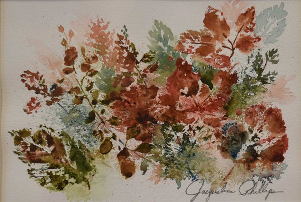 Painting: Weeds and Leaves Artist: Jacqueline Phillips Medium: Watercolor Size: framed