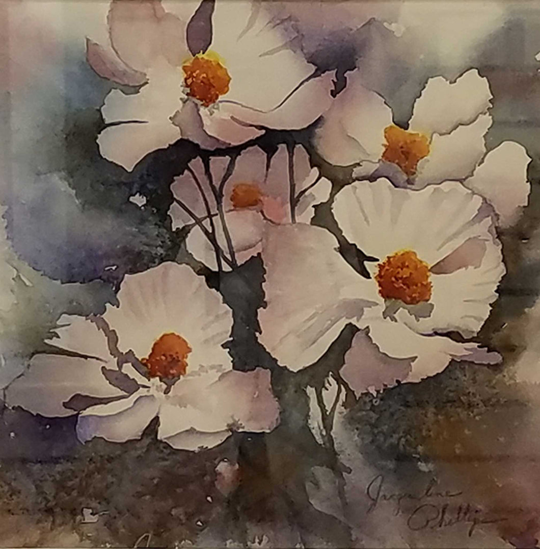 Painting: White Poppies Artist: Jacqueline Phillips Medium: Watercolor Size: Framed