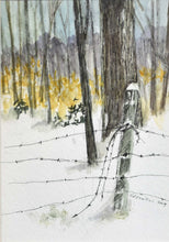 "Load image into Gallery viewer, Title: Winter Fenceline Artist: Nancy Maxwell Medium: Pen & Ink, Watercolor Size: 12.5"" x 10"", framed"