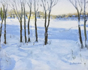 Winter Lake Oil Painting by Fred Doloresco
