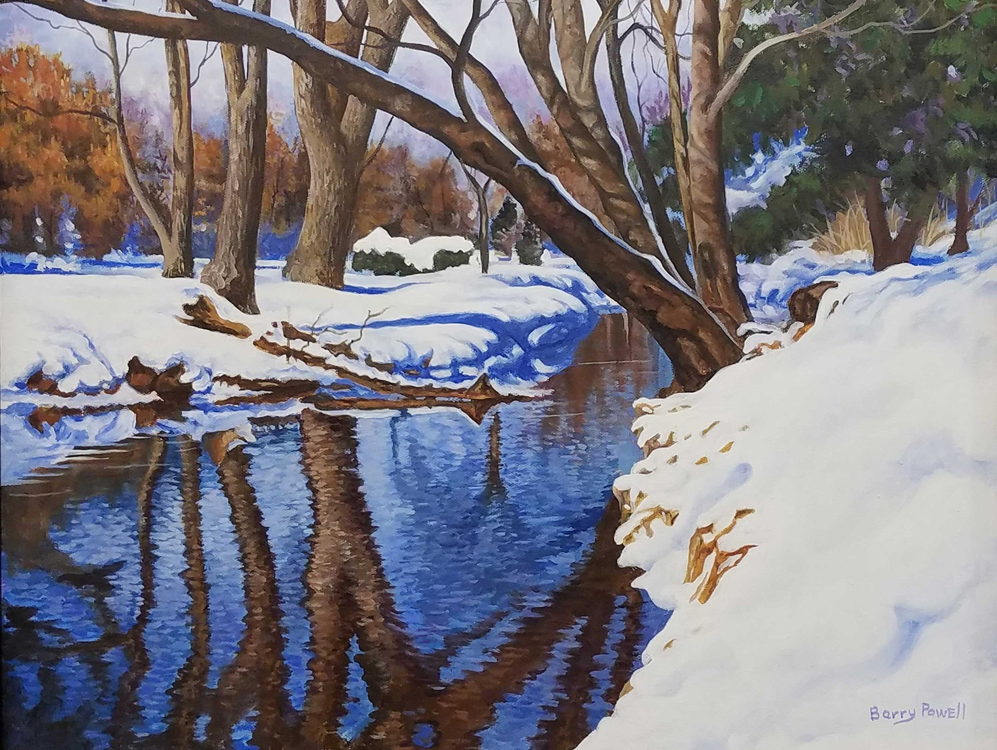 Winter Stream Oil Painting by Barry Powell