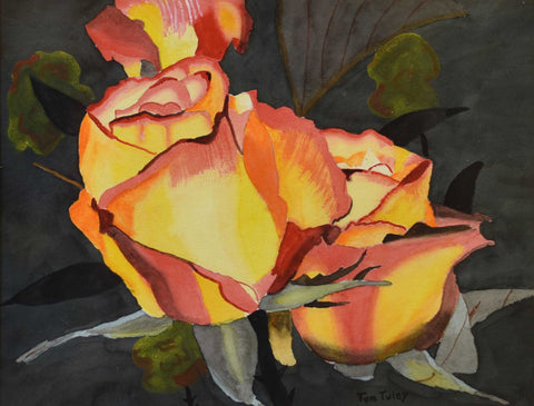 "Title: Yellow Rose Artist: Thomas Tuley Medium: Watercolor Size: 20.5"" x 24"", framed"