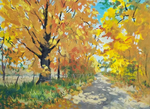 "Title: Yellow Road Artist: Douglas Runyan Medium: Gouache  Size: 9"" x 12"", framed"
