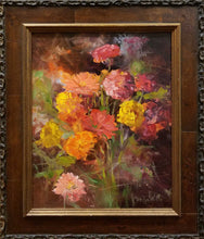 "Load image into Gallery viewer, Title: Zinnias Artist: Marilyn Witt Medium: Oil Size: Framed 14"" x 11"""