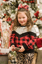 Load image into Gallery viewer, Girl's Plaid Glitter Sweater