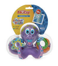 Load image into Gallery viewer, Nuby Floating Purple Octopus w/ 3 Hoopla Rings Bath Toy