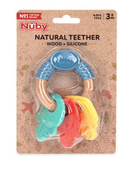 Nuby Natural Teether, Silicone and Wood Teether, Key Ring