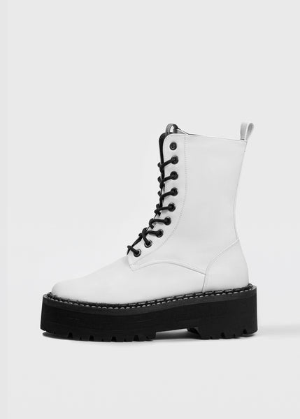 MONSTER Worker Boots - White - Desserto® vegan cactus leather