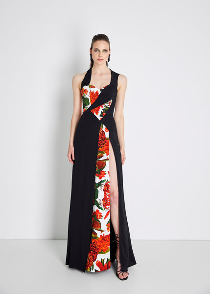 Wood Silk-blend Parrot Gown - Black & Red