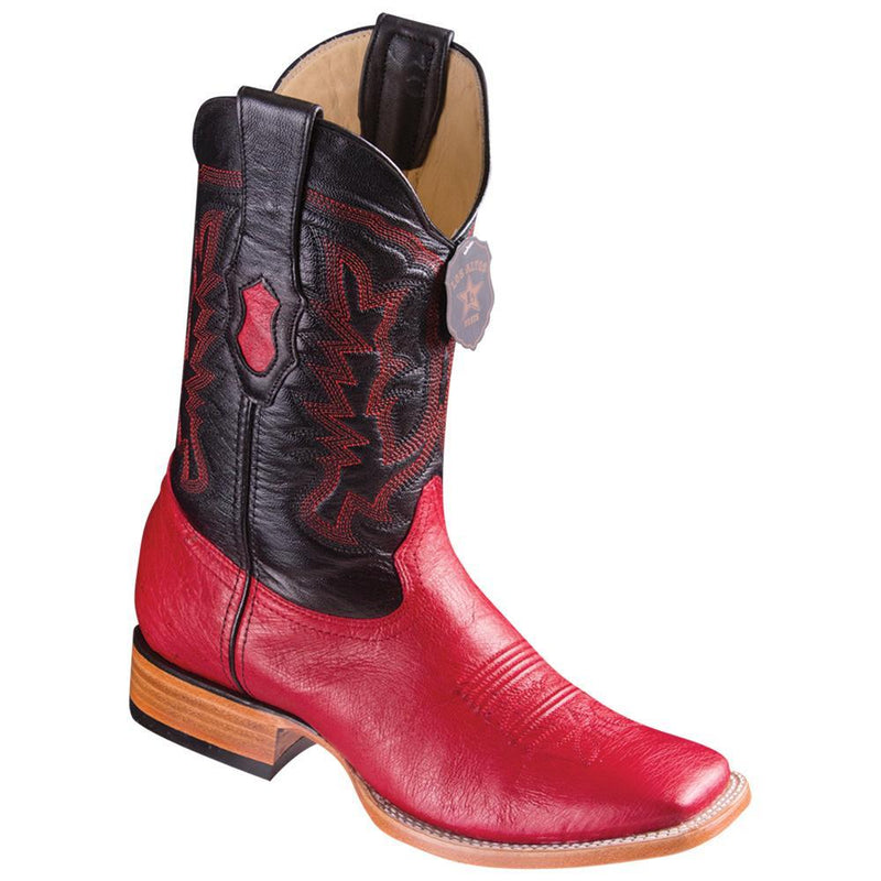 Los Altos Boots Mens #8279712 Wide Square Toe | Genuine Smooth Ostrich Leather Boots | Color Red