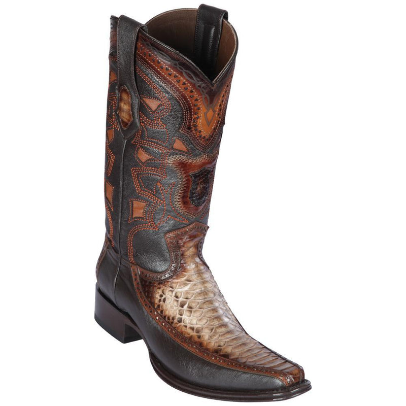 Los Altos Boots Mens #76F5785 European Square Toe | Genuine Python and Deer Boots | Color Rustic Brown