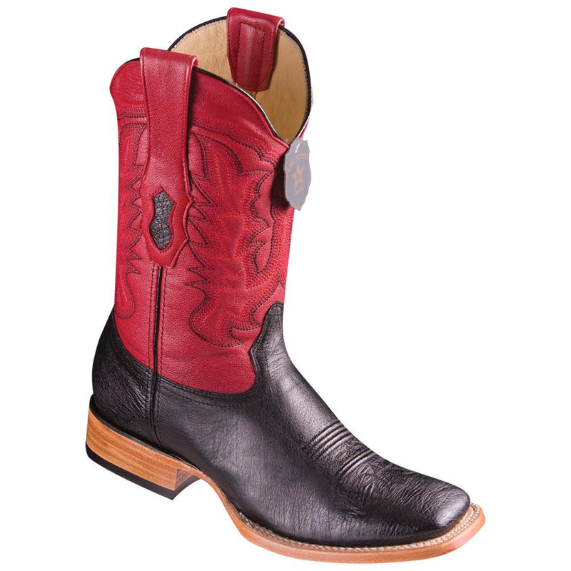 Los Altos Boots Mens #8279705 Wide Square Toe | Genuine Smooth Ostrich Leather Boots | Color Black