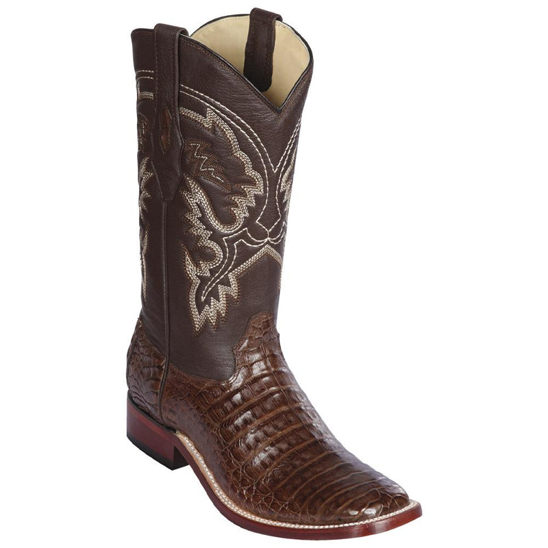 Los Altos Boots Mens #8228207 Wide Square Toe | Genuine Caiman Belly Leather Boots | Color Brown
