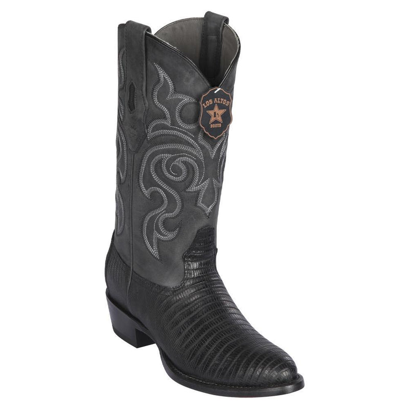 Los Altos Boots Mens #65G0705 Round Toe | Genuine Teju Lizard Boots Handcrafted | Color Black