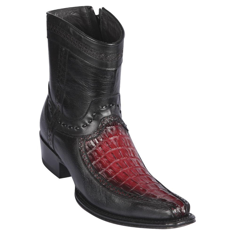 Los Altos Boots Mens #76BF0143 Low Shaft European Square Toe | Genuine Caiman Tail and Deer Boots | Color Faded Burgundy