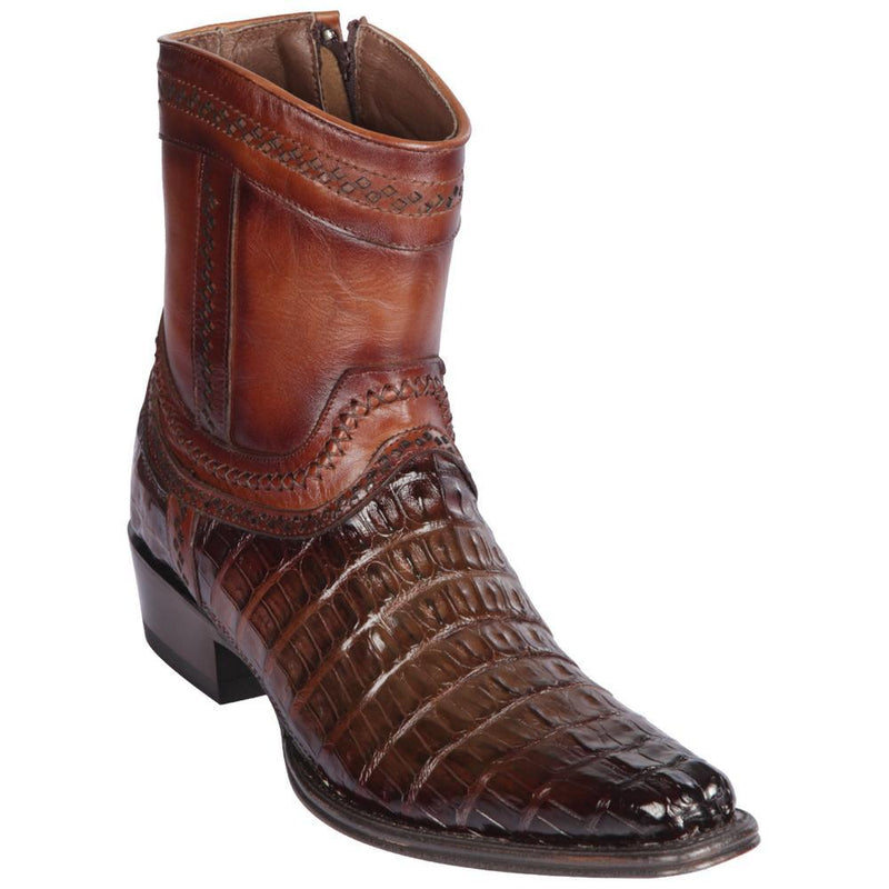 Los Altos Boots Mens #76B0116 Low Shaft European Square Toe | Genuine Caiman Belly Leather Boots | Color Faded Brown