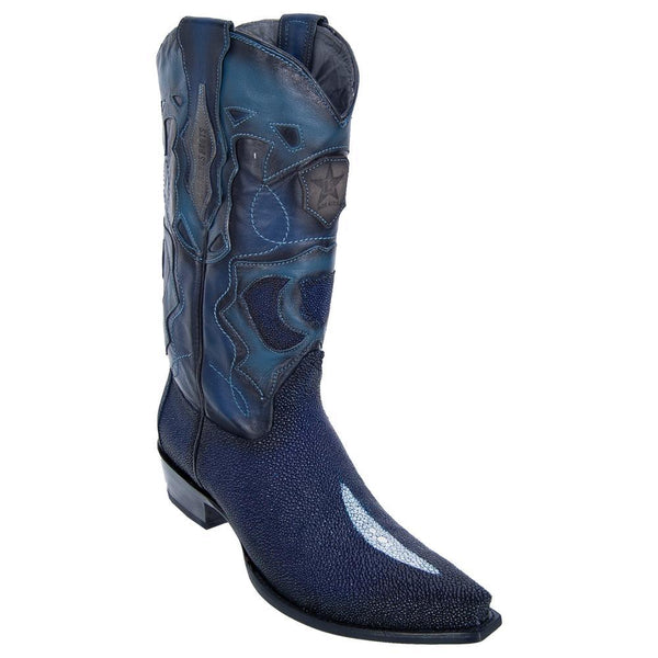 Los Altos Boots Mens #94R1210 Snip Toe | Genuine Single Stone Stingray Boots | Color Faded Navy Blue