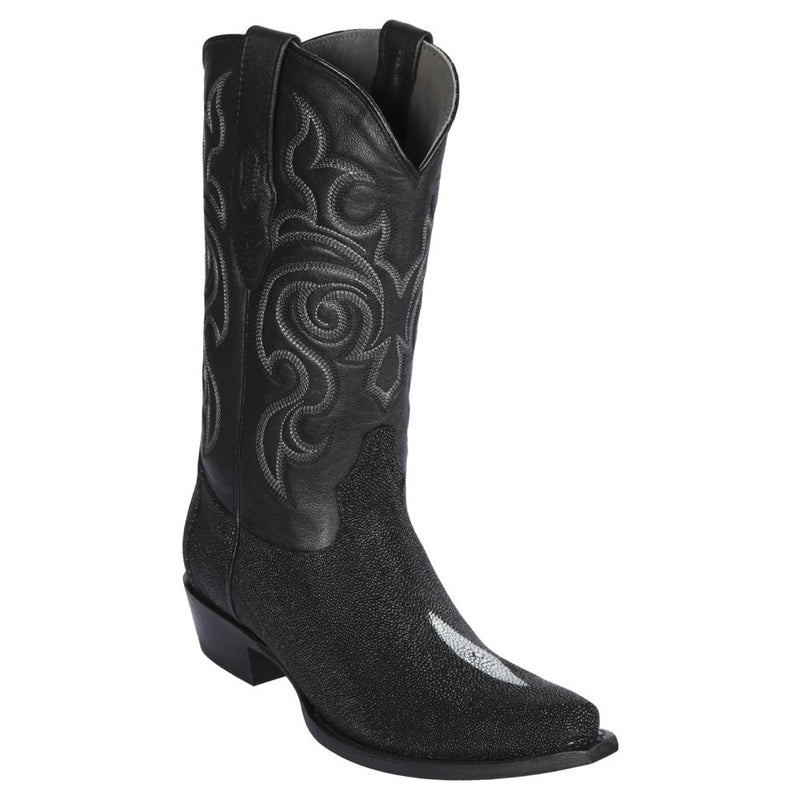 Los Altos Boots Mens #941205 Snip Toe | Genuine Single Stone Stingray Boots | Color Black