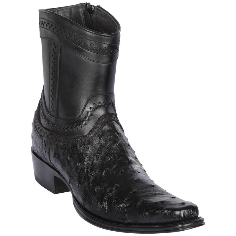 Los Altos Boots Mens #76B0305 Low Shaft European Square Toe | Genuine Ostrich skin Leather Boots | Color Black