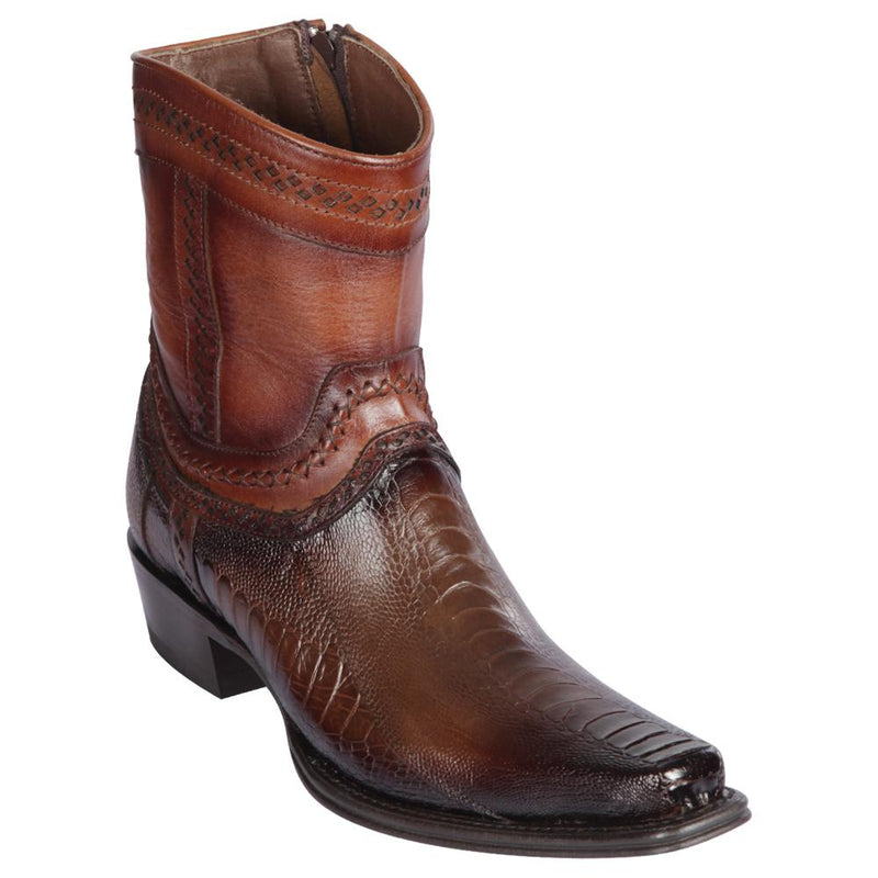 Los Altos Boots Mens #76B0516 Low Shaft European Square Toe | Genuine Ostrich Leg Leather Boots | Color Faded Brown