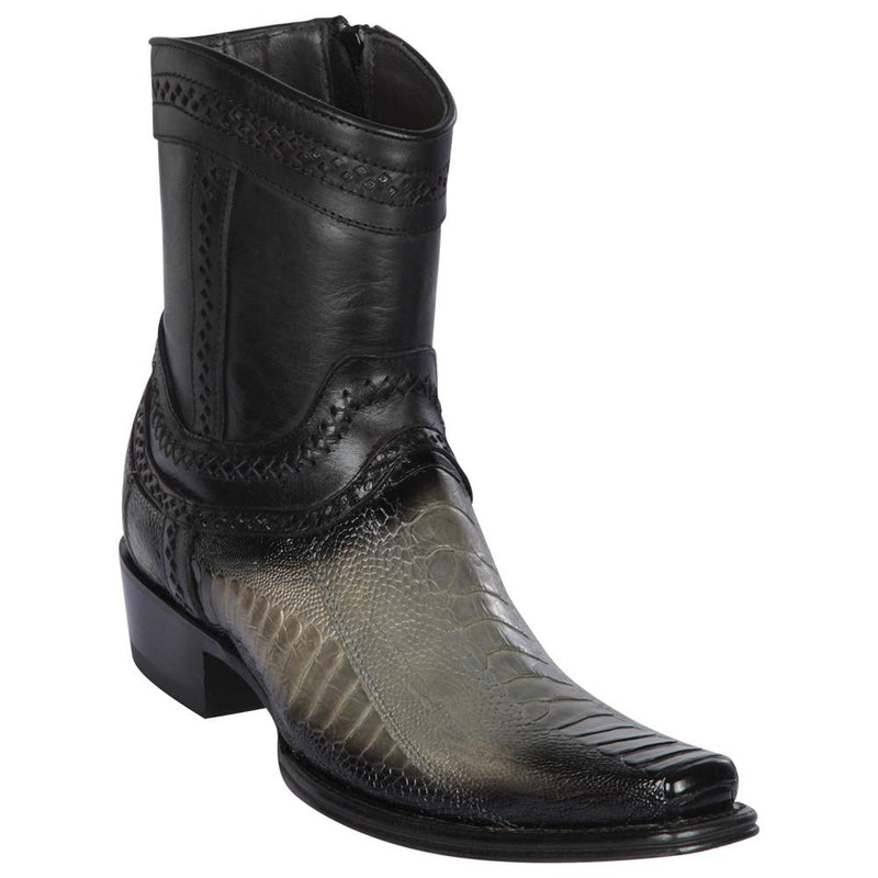 Los Altos Boots Mens #76B0538 Low Shaft European Square Toe | Genuine Ostrich Leg Leather Boots | Color Faded Gray
