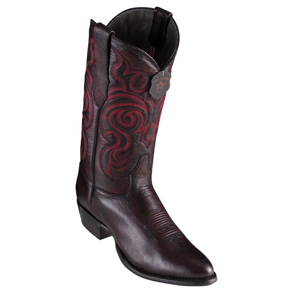 Los Altos Boots Mens #659218 Round Toe | Genuine All Over Goat Leather Boots | Color Black Cherry