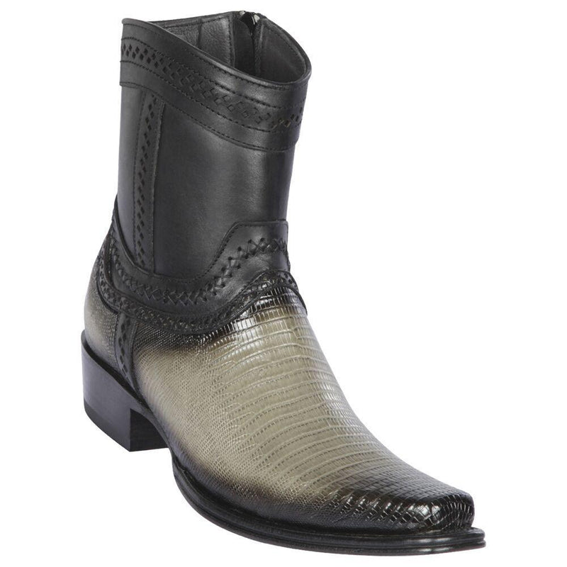 Los Altos Boots Mens #76B0738 Low Shaft European Square Toe | Genuine Teju Lizard Leather Boots | Color Faded Gray