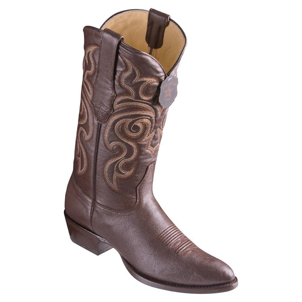 Los Altos Boots Mens #659207 Round Toe | Genuine All Over Goat Leather Boots | Color Brown