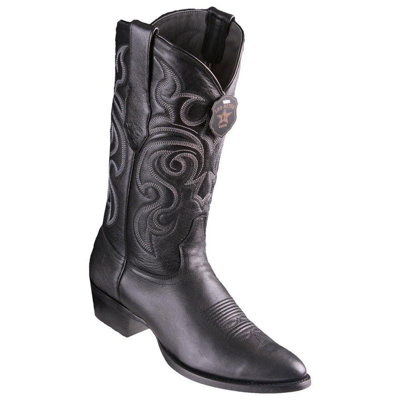Los Altos Boots Mens #659205 Round Toe | Genuine All Over Goat Leather Boots | Color Black