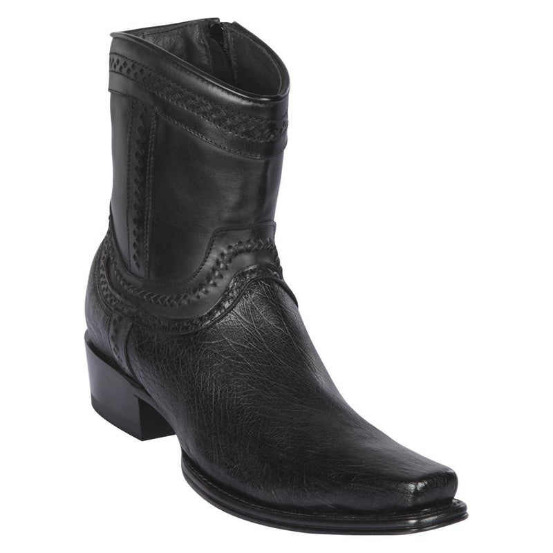 Los Altos Boots Mens #76B9705 Low Shaft European Square Toe | Genuine Smooth Ostrich Leather Boots | Color Black