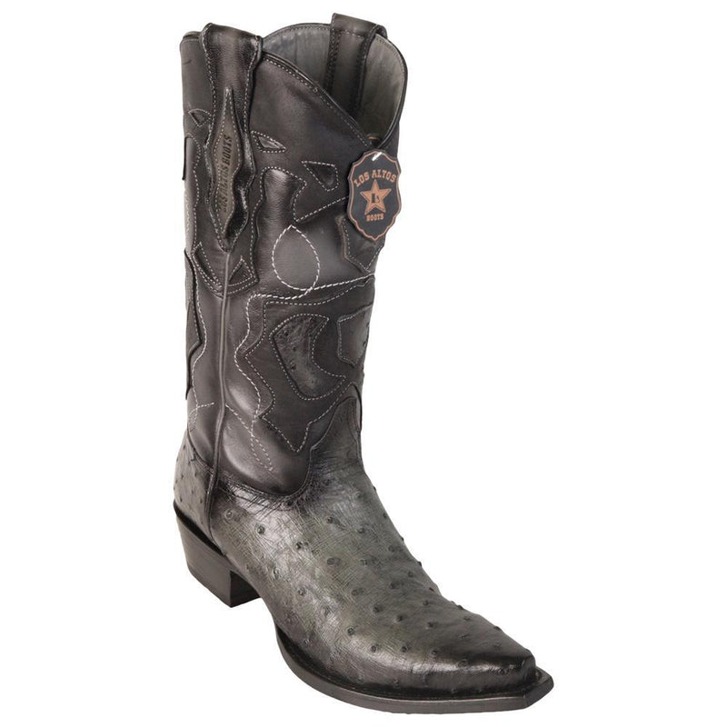 Los Altos Boots Mens #94R0338 Snip Toe | Genuine Full Quill Ostrich Boots | Color Faded Gray