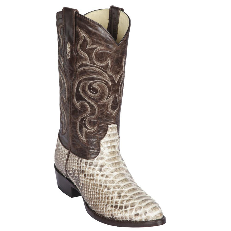 Los Altos Boots Mens #605749 Medium Round Toe | Genuine Python Snakeskin Leather Boots | Color Natural