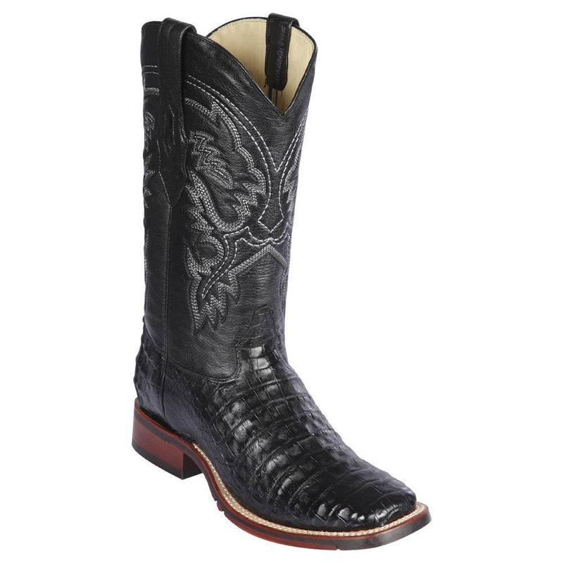 Los Altos Boots Mens #8268205 Wide Square Toe | Genuine Caiman Belly Leather Boots | Color Black