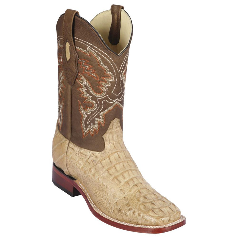 Los Altos Boots Mens #822G0251 Wide Square Toe | Genuine Caiman Hornback Leather Boots | Color Honey | Greasy Finish