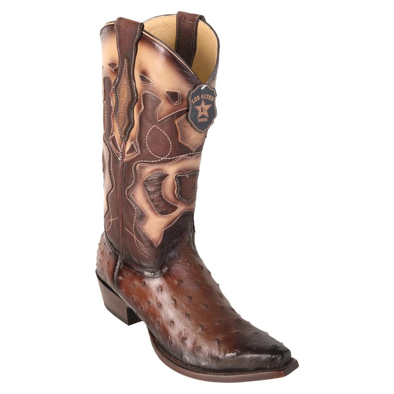 Los Altos Boots Mens #94R0316 Snip Toe | Genuine Full Quill Ostrich Boots | Color Faded Brown