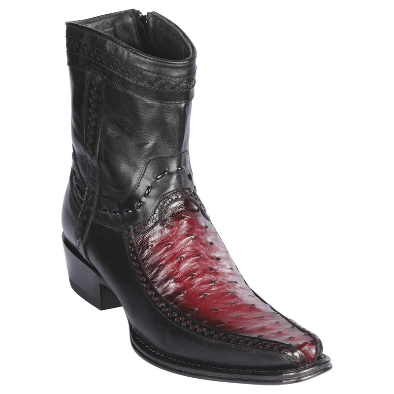 Los Altos Boots Mens #76BF0343 Low Shaft European Square Toe | Genuine Ostrich And Deer Boots | Color Faded Burgundy