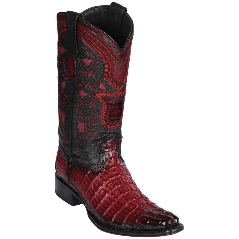Los Altos Boots Mens #760143 European Square Toe | Genuine Caiman Tail Boots | Color Faded Burgundy