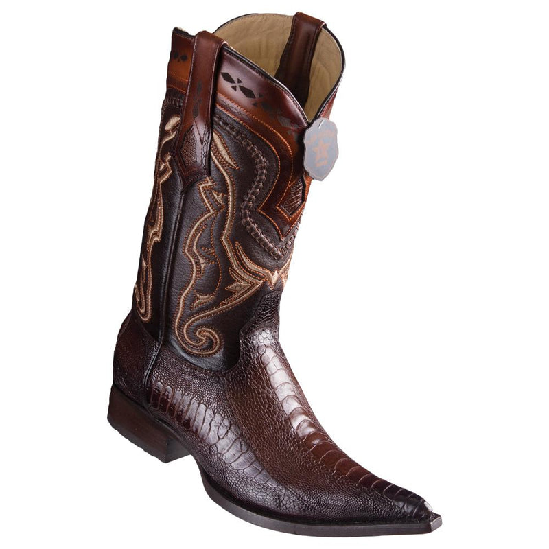 Los Altos Boots Mens #9530516 3X Toe | Genuine Ostrich Leg Leather Boots | Color Faded Brown