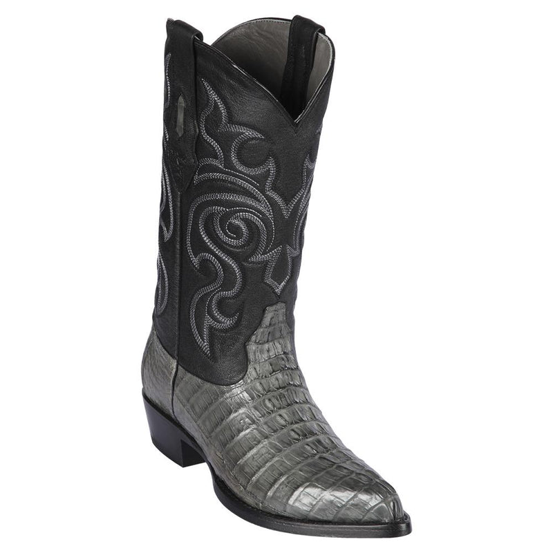 Los Altos Boots Mens #990109 J Toe | Genuine Caiman Tail Boots | Color Gray