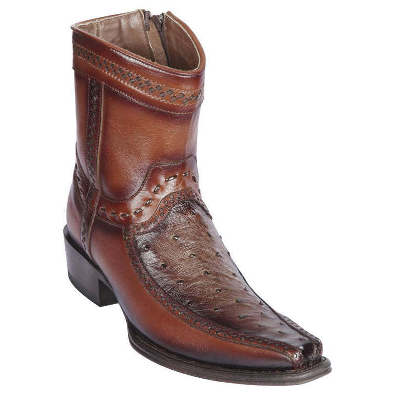Los Altos Boots Mens #76BF0316 Low Shaft European Square Toe | Genuine Ostrich And Deer Boots | Color Faded Brown