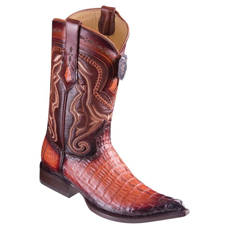 Los Altos Boots Mens #9530157 3X Toe | Genuine Caiman Belly Leather Boots | Color Faded Cognac