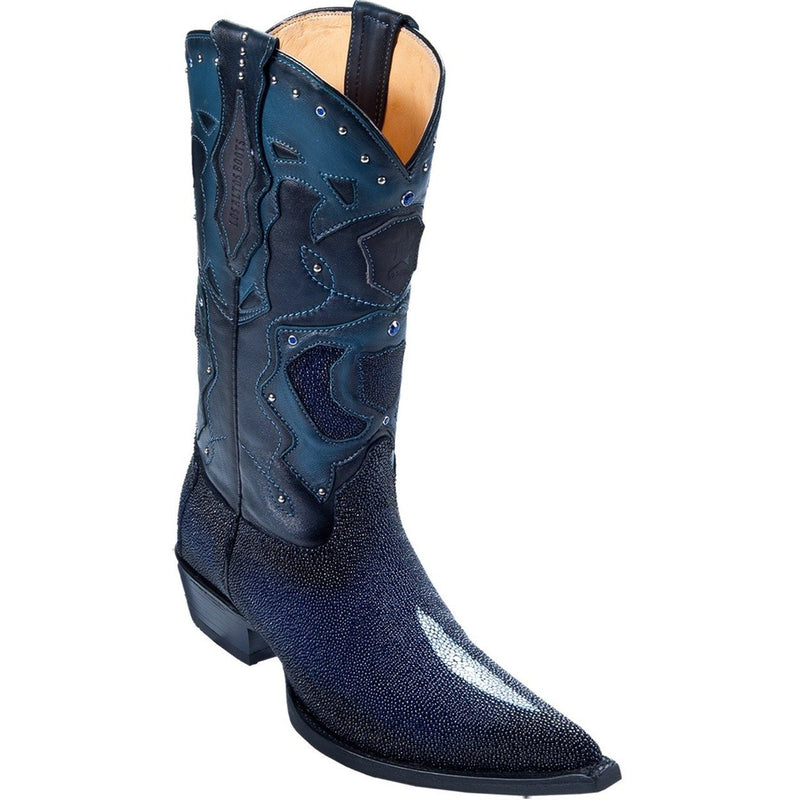 Los Altos Boots Mens #95VF1210 3X Toe | Genuine Single Stone Stingray Leather Boots | Color Faded Navy Blue