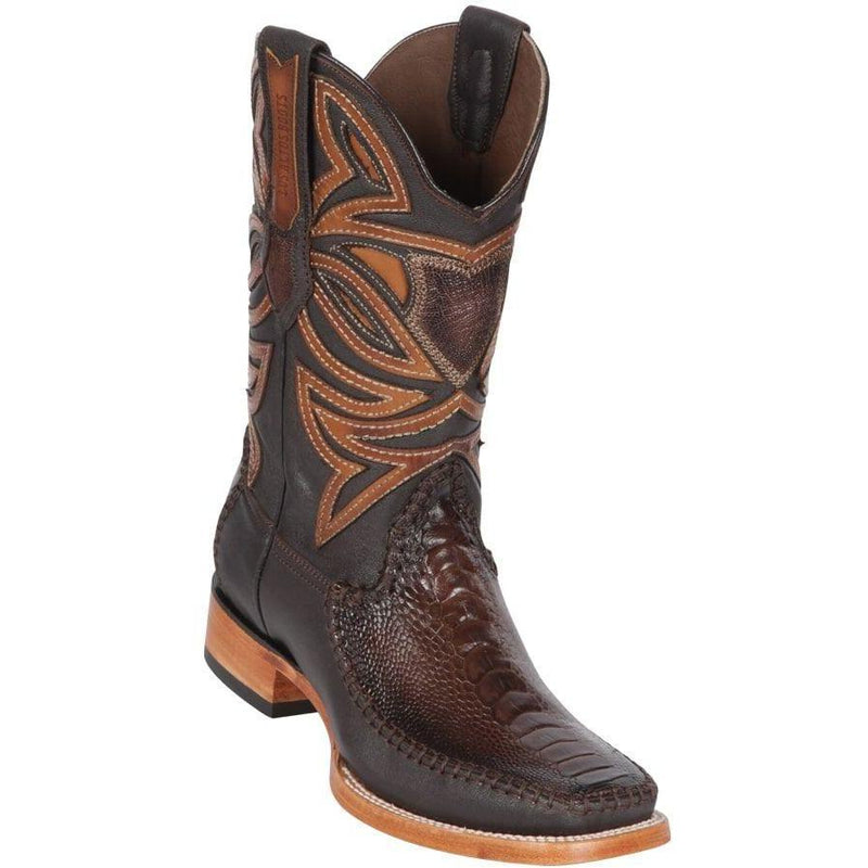 Los Altos Boots Mens #82F0516 Wide Square Toe | Genuine Ostrich & Deer Leg Skin Boots | Color Faded Brown