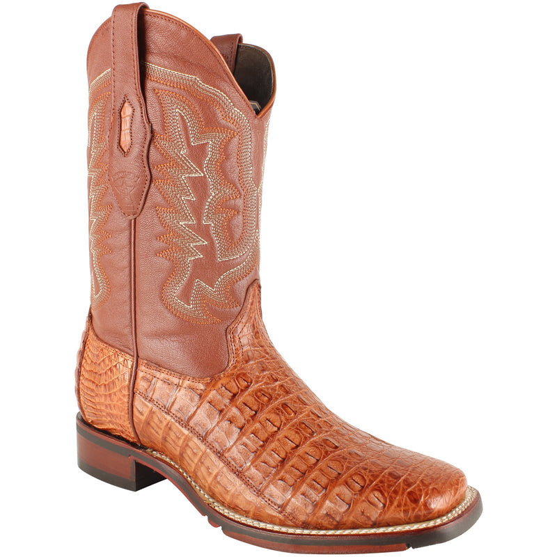 Los Altos Boots Mens #826A1803 Wide Square Toe | Genuine Caiman Flank Leather Boots | Color Cognac