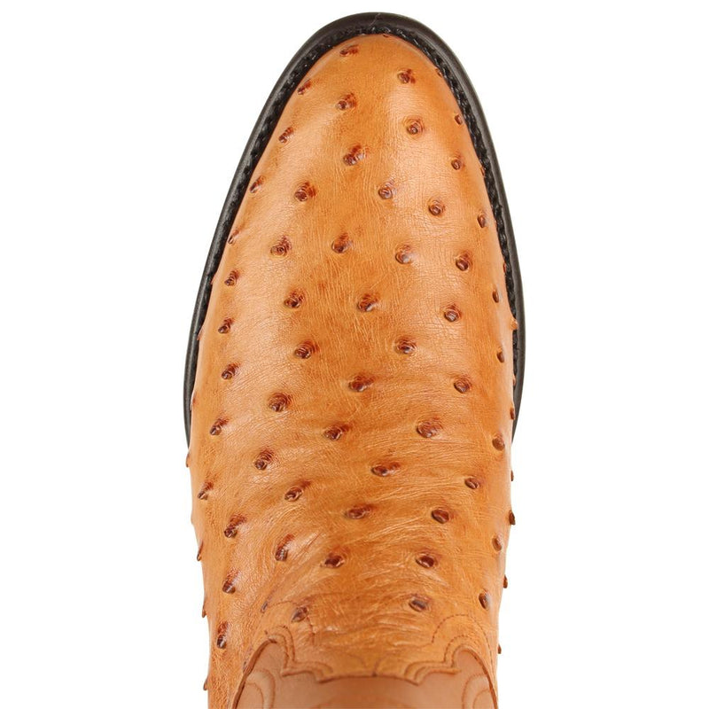 Los Altos Boots Mens #690351 Roper Style | Ostrich Boots Handcrafted | Color Honey