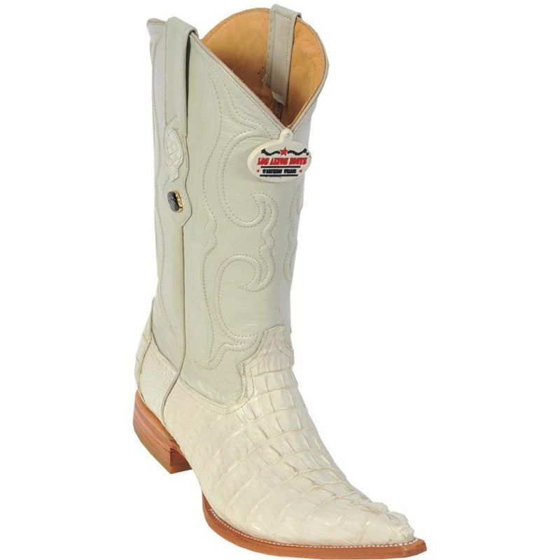 Los Altos Boots Mens #950104 3X Toe | Genuine Caiman Tail Leather Boots | Color Winterwhite