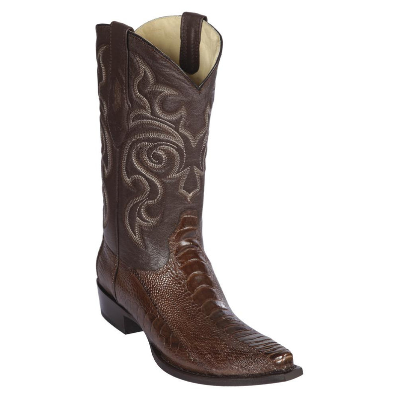 Los Altos Boots Mens #940507 Snip Toe | Genuine Ostrich Leg Boots | Color Brown