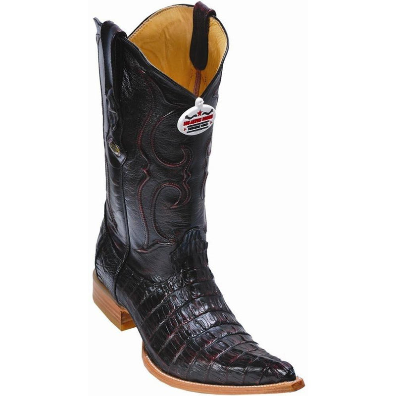 Los Altos Boots Mens #950118 3X Toe | Genuine Caiman Tail Leather Boots | Color Black Cherry