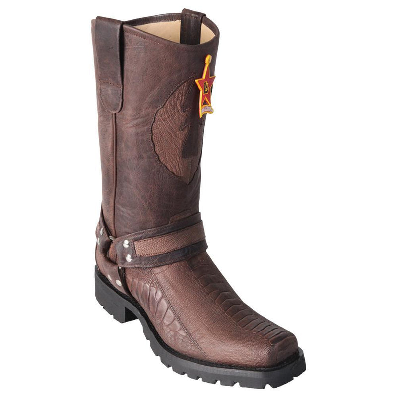 Los Altos Boots Mens #55TG0507 Biker Boot | Genuine Ostrich Leg Leather Boots | Color Brown | Greasy Finish
